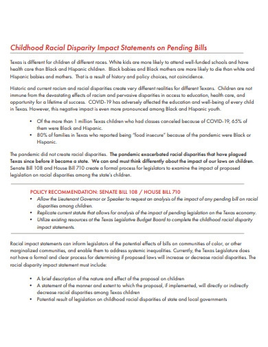 basic disparity impact statement