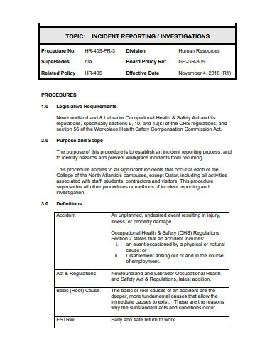 basic hr incident reporting