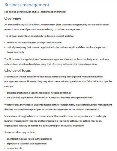 business management evaluation essay