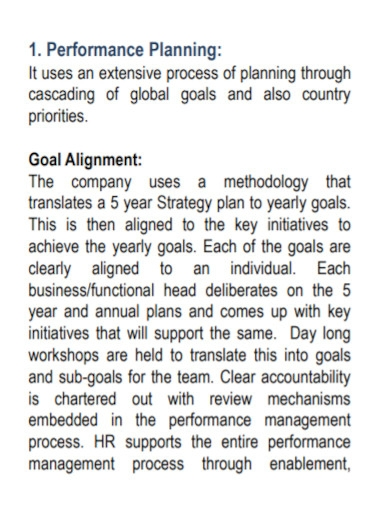 business performance management report