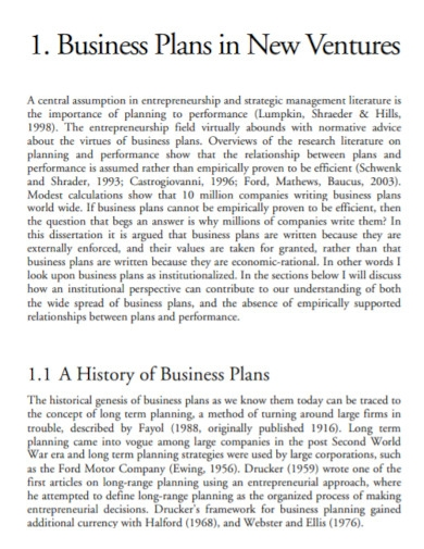 business plans in new ventures