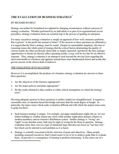 business strategy evaluation essay