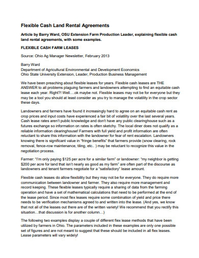 cash farm land rental agreement