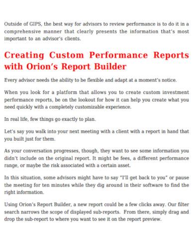 clients custom performance report