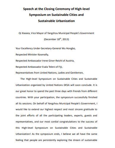 closing ceremony speech in pdf