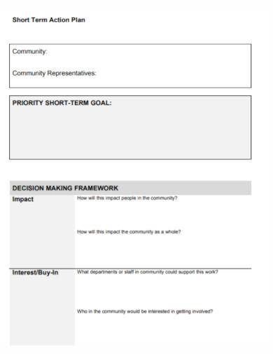 community short term action plan