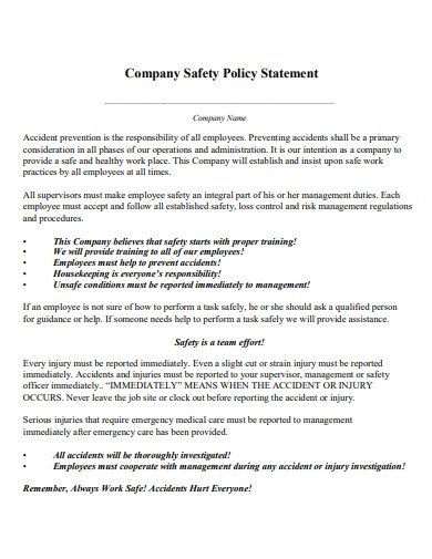 company safety policy statement