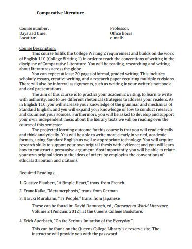 comparative literature essay template