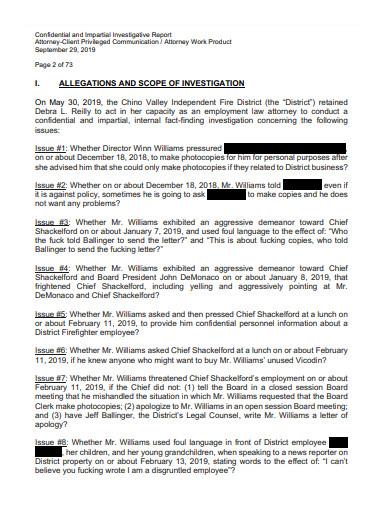 confidential investigative report example