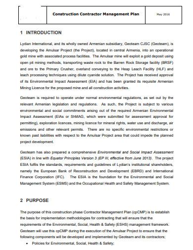 construction contractor management plan