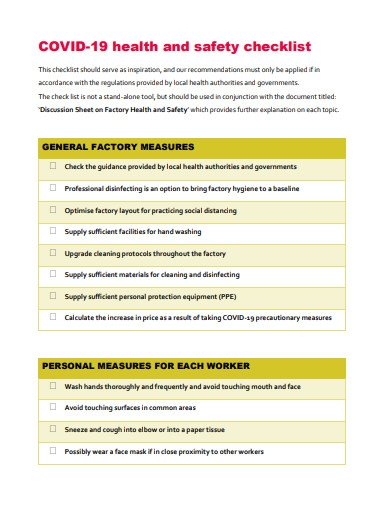covid 19 health and safety checklist