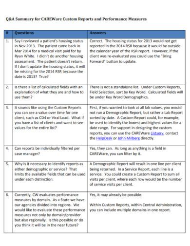 custom performance summary report