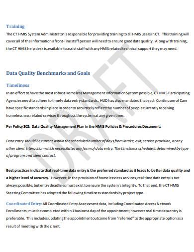 data quality training plan