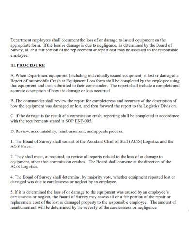 department equipment damage report
