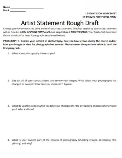 draft artist statement worksheet