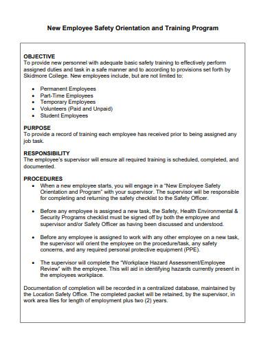 employee safety orientation and training program