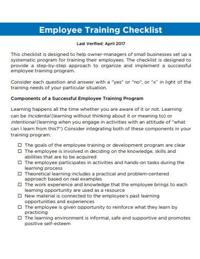employee training program checklist