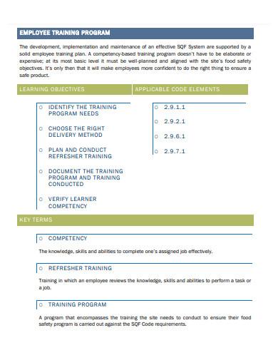 employee training program format