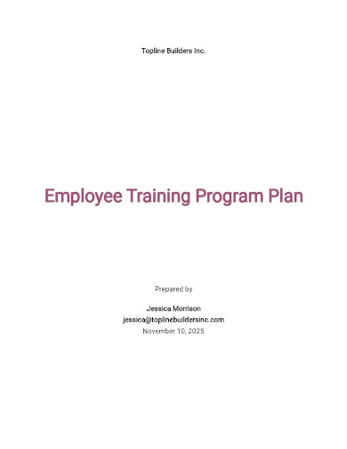employee training program plan template