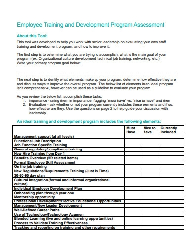employee training and development program assessment