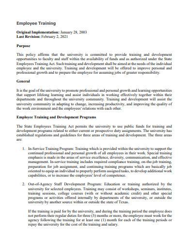 employees training and development program