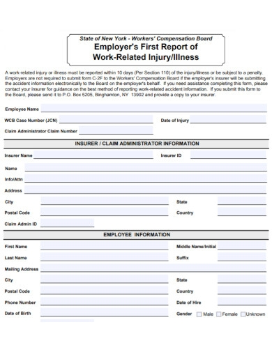 employers work accident report
