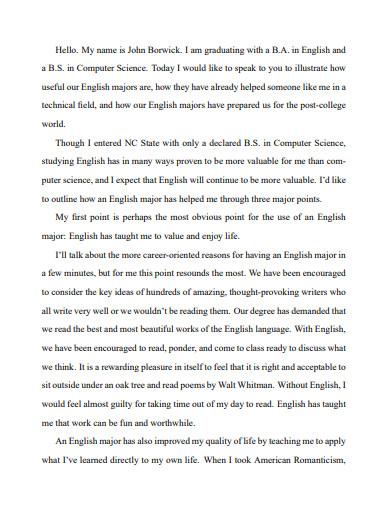 english department graduation speech essay