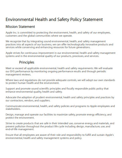 environmental health and safety policy statement