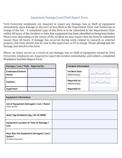 equipment damage report form