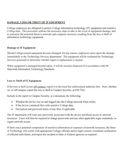 equipment damage report template
