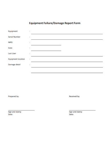 equipment failure damage report