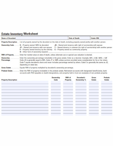 estate inventory worksheet list