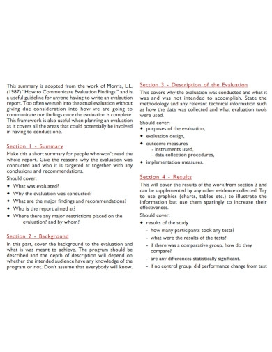evaluation report outline summary