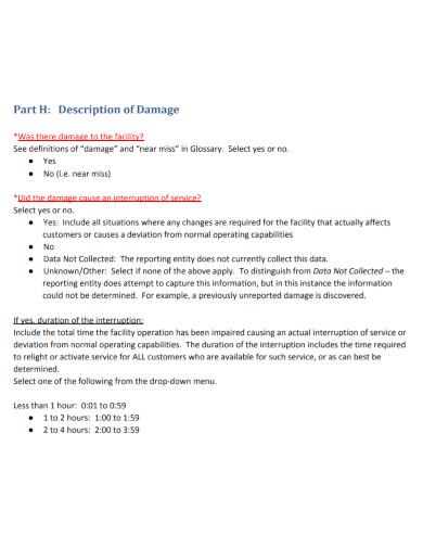 excavation equipment damage report