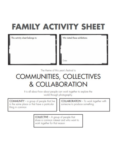 family activity sheet template