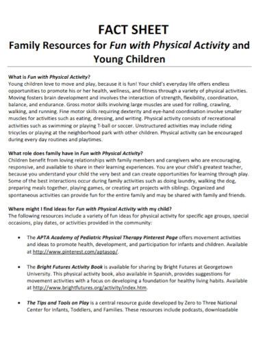 family physical activity sheet