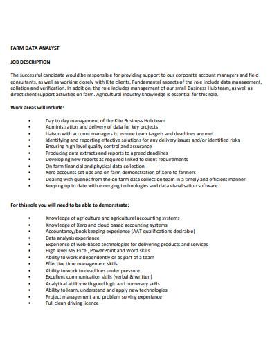 farm data analyst job description