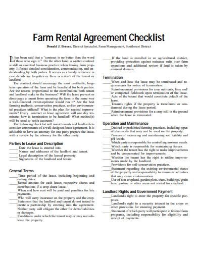 farm land rental agreement checklist