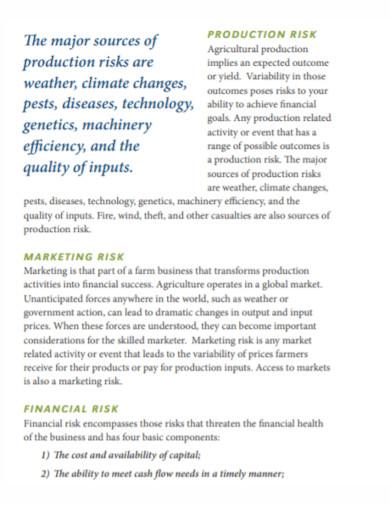 financial risk agricultural management plan