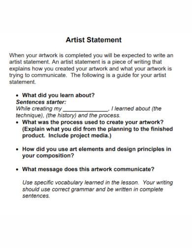 formal artist statement worksheet