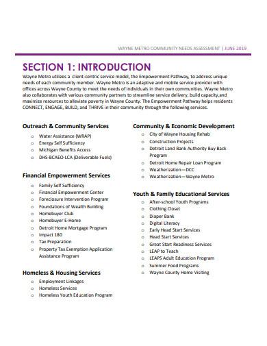 formal community needs assessment