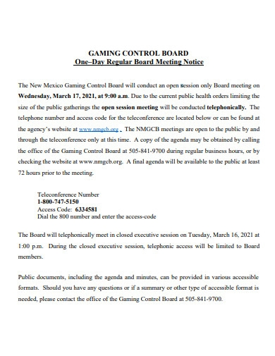 formal notice of board meeting