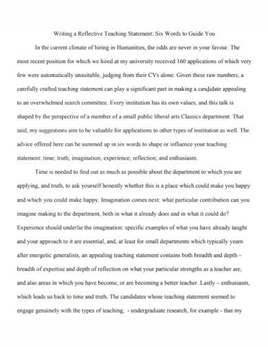 formal reflective teaching statement