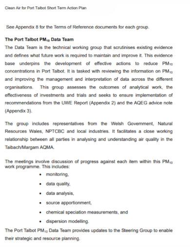 formal short term action plan
