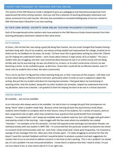 formal teaching statement online