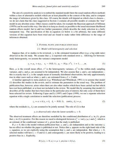 funnel plot and sensitivity analysis