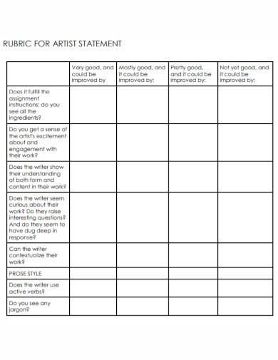 general artist statement worksheet