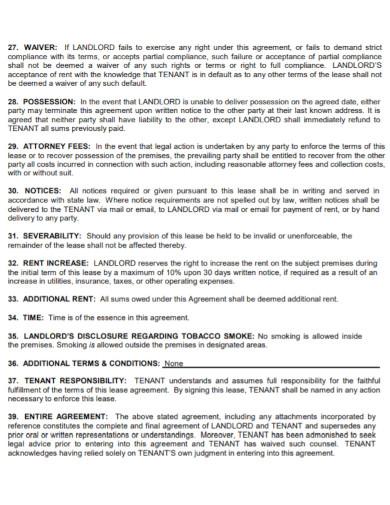 general residential rental agreement