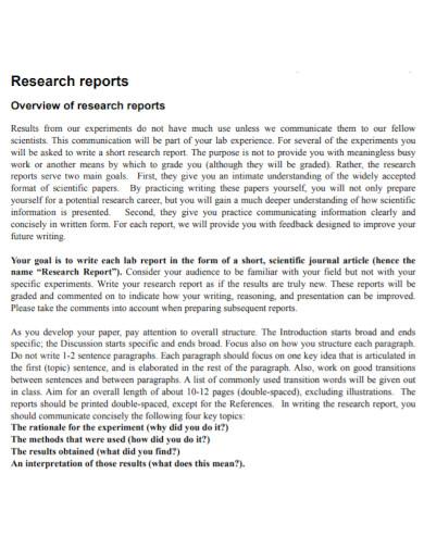 general short research report