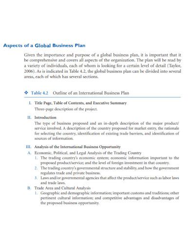 global business development plan